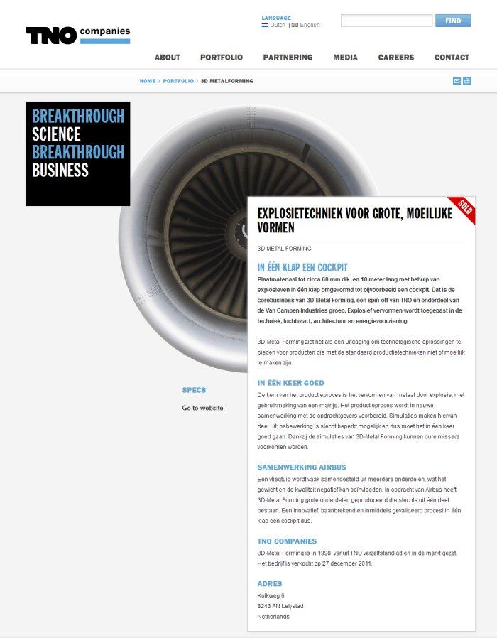 Selected Company page, screenshot