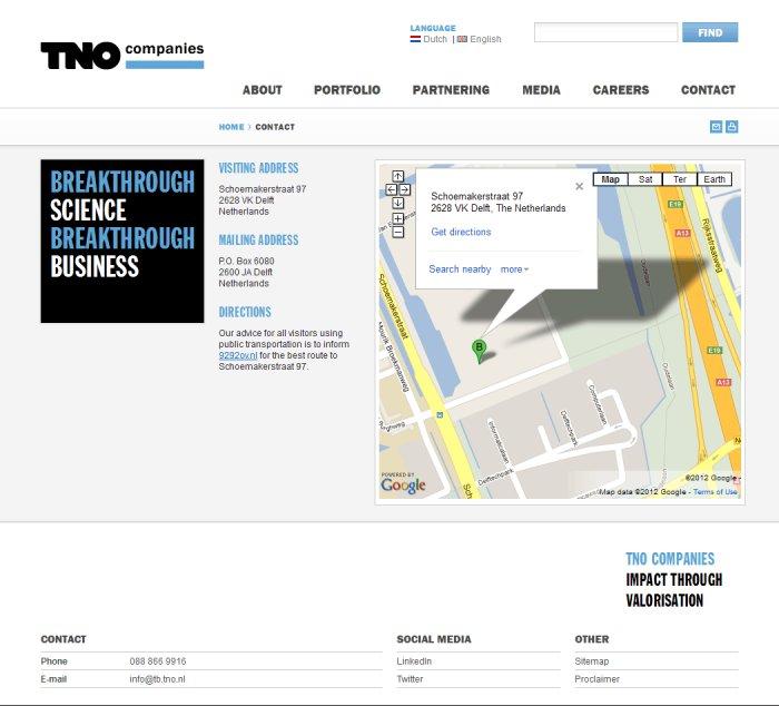 Contact page, screenshot