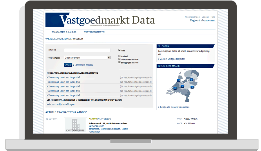 Website Vastgoedmarkt Data